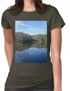 Scenic Glassy Country Lake Picture Womens Fitted T-Shirt