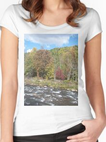 Pretty Rustic Autumn River Rapids Women's Fitted Scoop T-Shirt