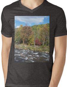Pretty Rustic Autumn River Rapids Mens V-Neck T-Shirt