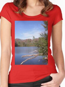 Nice & Relaxing West Virginia Mountain Lake Scene Women's Fitted Scoop T-Shirt