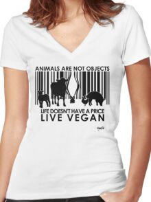 VeganChic ~ Animals Are Not Objects Women's Fitted V-Neck T-Shirt