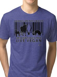 VeganChic ~ Animals Are Not Objects Tri-blend T-Shirt