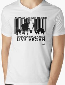 VeganChic ~ Animals Are Not Objects Mens V-Neck T-Shirt