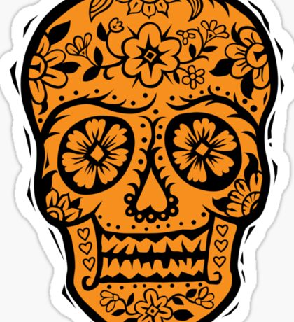 Sugar Skull SF Halloween on blk Sticker