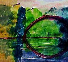 Romantic arch in the swamps, watercolor by Anna  Lewis