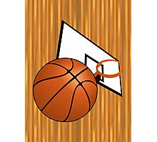 Basketball with Hoop Photographic Print