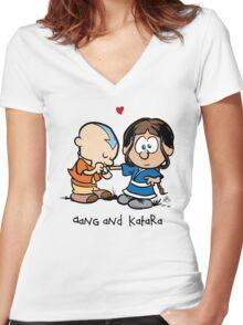 Aang & Katara (Avatar / Calvin & Hobbes) Women's Fitted V-Neck T-Shirt