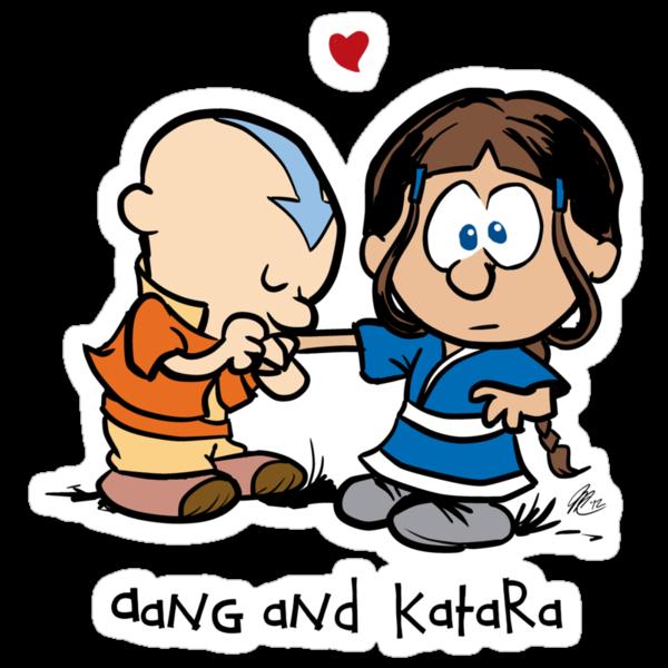 """Aang & Katara (Avatar / Calvin & Hobbes)"" Stickers by ..."