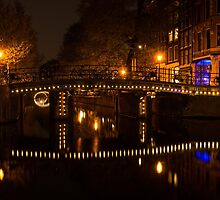 Amsterdam Night in Yellow and Purple by Georgia Mizuleva