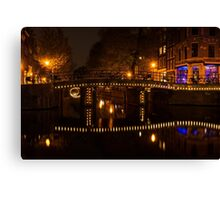 Amsterdam Night in Yellow and Purple Canvas Print