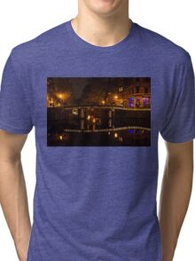 Amsterdam Night in Yellow and Purple Tri-blend T-Shirt