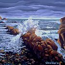 Tide comes in on rocky shore by Dan Wilcox