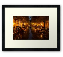 Amsterdam Canal in Golden Yellow Framed Print