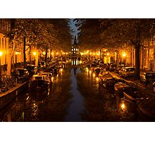 Amsterdam Canal in Golden Yellow Photographic Print