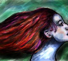 Girl with the flowing hair by Rachel Kelly