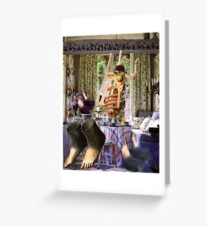 Feet Under the Table. Greeting Card