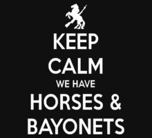 Horses and Bayonets (White Text) T-Shirt