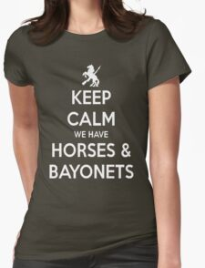 Horses and Bayonets (White Text) Womens Fitted T-Shirt