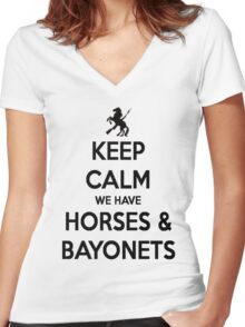 Horses and Bayonets (Black Text) Women's Fitted V-Neck T-Shirt