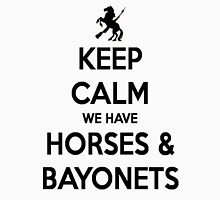 Horses and Bayonets (Black Text) Unisex T-Shirt