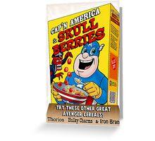 Cap'n America cereal with Skull Berries Greeting Card