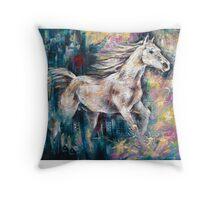 Escaping Horse Throw Pillow