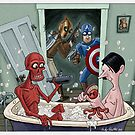Captain America and Rocketeer's awkward encounter by andyjhunter