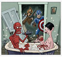 Captain America and Rocketeer's awkward encounter Photographic Print