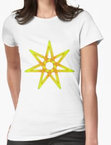 Seven Pointed Star shaded orange and yellow Womens Fitted T-Shirt