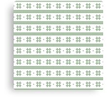 White and green knitted christmas snowflakes seamless pattern Canvas Print