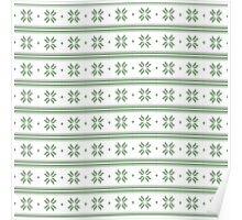 White and green knitted christmas snowflakes seamless pattern Poster
