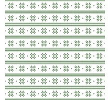 White and green knitted christmas snowflakes seamless pattern Photographic Print