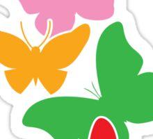 5 cute rainbow butterflies flying up Sticker
