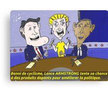 Caricature d'Obama Romney et Armstrong Canvas Print