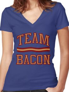 Team Bacon Women's Fitted V-Neck T-Shirt