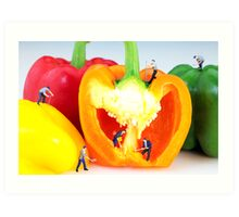 Mining in colorful peppers Art Print