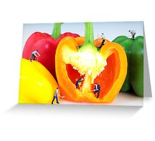 Mining in colorful peppers Greeting Card