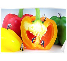 Mining in colorful peppers Poster