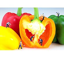 Mining in colorful peppers Photographic Print