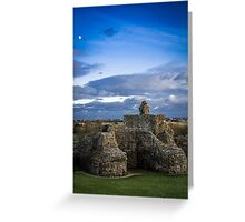 Pevensey Castle ruins early evening Greeting Card