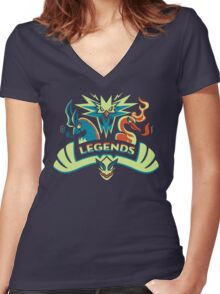 LEGENDS - Silver Women's Fitted V-Neck T-Shirt