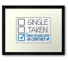 SINGLE TAKEN Madly in love with Jai Courtney Framed Print