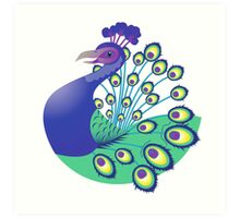 A splendid green and blue Peacock Art Print