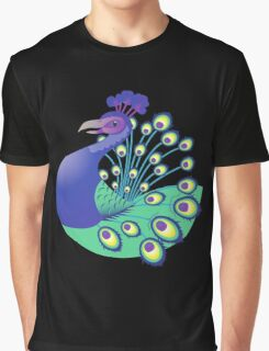 A splendid green and blue Peacock Graphic T-Shirt