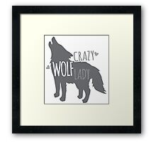 Crazy WOLF lady Framed Print