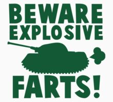 BEWARE! Explosive farts with a military army tank Kids Clothes