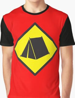 Yellow WARNING sign tent (CAMPING) Graphic T-Shirt