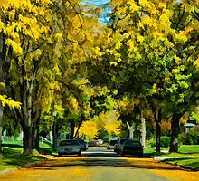 Neighborhood in Autumn by Joy  Rector