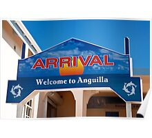 Welcome to Anguilla. Arrival sign. Poster