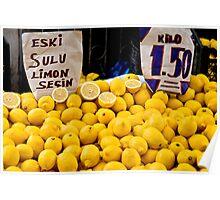 Lemons At A Street Market Poster
